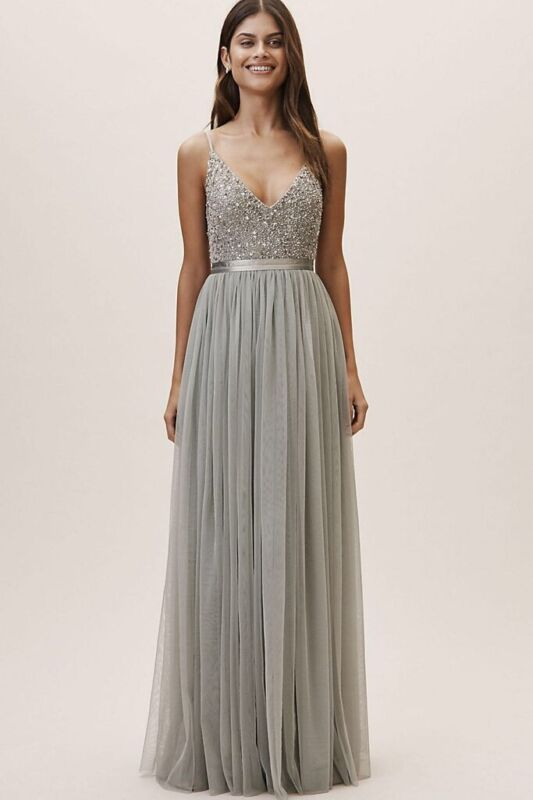 BHLDN Avery Formal Gown, Size 8, Color: Morning Mist
