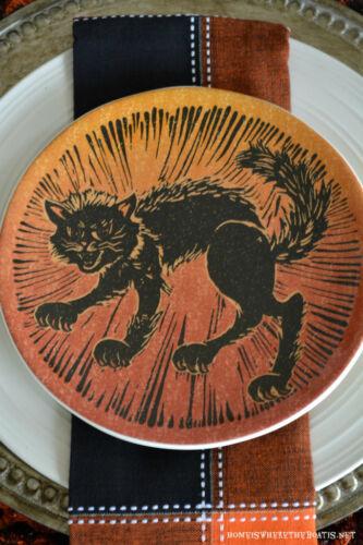 Pottery Barn BLACK CAT Spooky Icon Halloween Salad Plate ...Vintage Retro