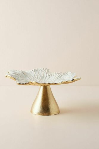NWT Anthropologie Gold White Enamel Loretta Cake Stand Plate Holiday Desserts