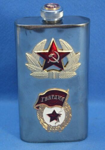 CCCP (USSR) STAINLESS FLASK - IMAGE OF LENIN ON CAP