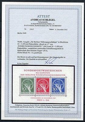 Berlin Block I mit Plattenfehler II Postfrisch Attest BPP Schlegel  KW= 2500,- €
