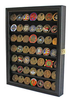 LOCKABLE Challenge Coin Display Case Casino Chip Pin Medal Shadow Box Cabinet Medal Shadow Boxes