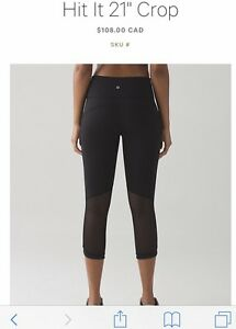"Hit It 21"" Crop Lululemon Size 8"