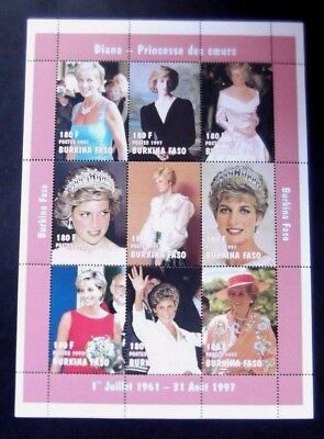 Burkino Faso-1997-2 Princess Diana Memorial Minisheets-MNH (2 Scans)