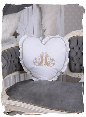 Cottage Pillow White Heart Shape Cushion Shabby Chic Monogram Style Decoration