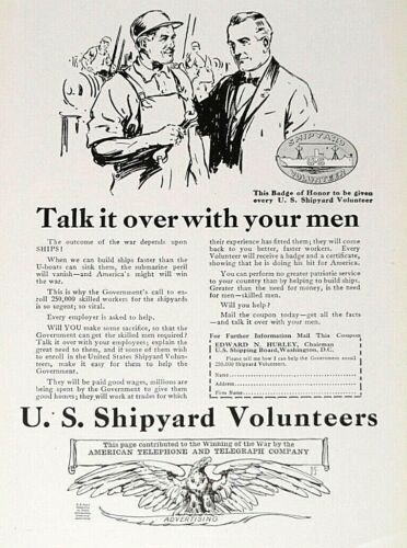 1918 Wartime Ad - Call to Action - Shipyard Volunteers - Print Ad - May 1918