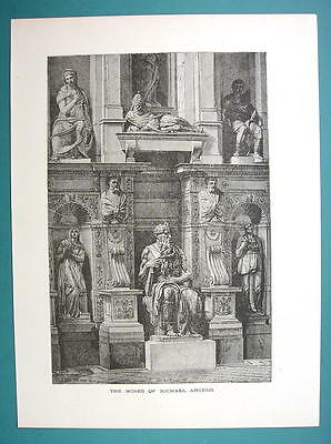ITALY Rome Moses Statue by Michelangelo - 1877 Wood Engraving Illustration