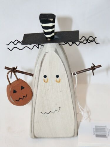 Primitives by Kathy Halloween Chunky Ghost Sitter Holding Pumpkin Basket