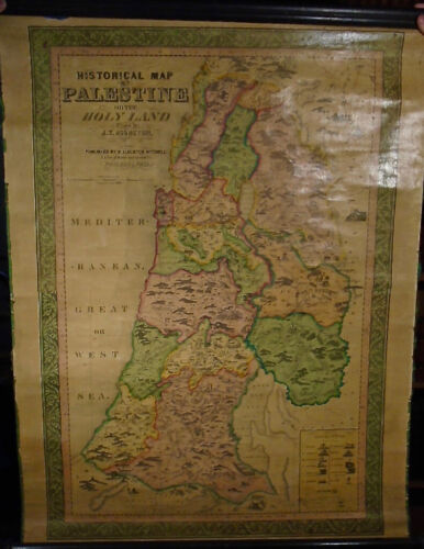J.T. Assheton HISTORICAL MAP OF PALESTINE OR THE HOLY LAND 1849 Nice 39 by 27 in
