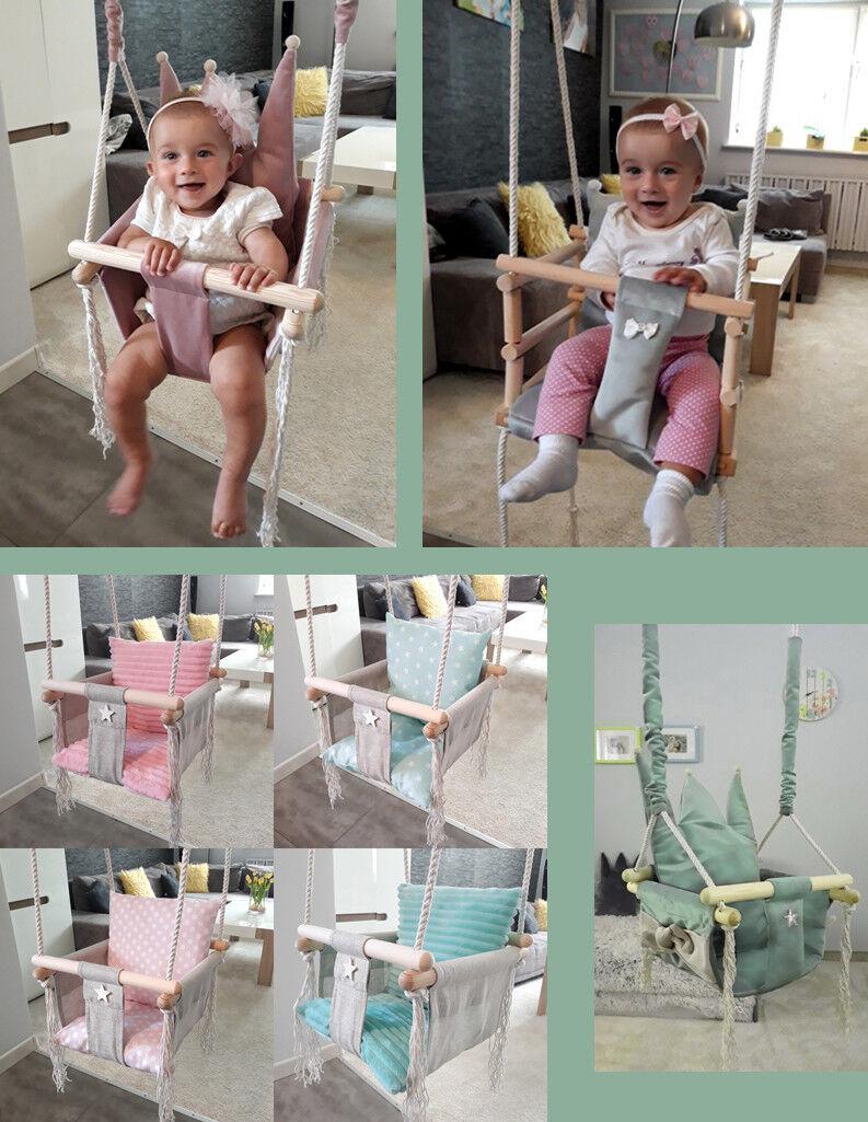 Babyschaukel Kinderschaukel Holz Stoff Schaukel 3 in 1 Rosa Grau Mint Krone Neu