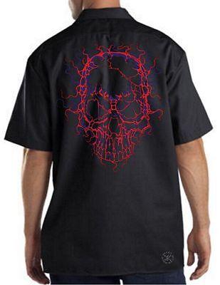 NEON CRACKED SKULL Dickies Work Shirt Mechanic ~ Lightning Skulls - Cracked Skull