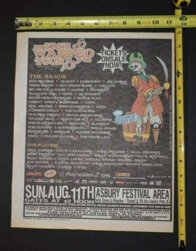 The Vans Warped Tour 2002 Color Concert Ad Bad Religion Good Charlotte 28 Days