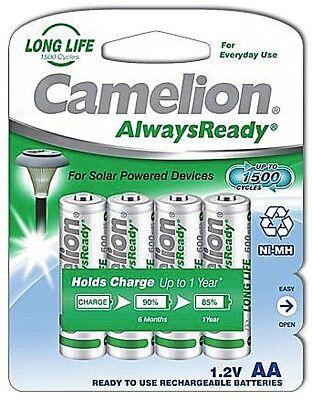 4 x Camelion AA Always Ready Solar Akku 600mAh 1,2V NiMH Akku HR6 Mignon