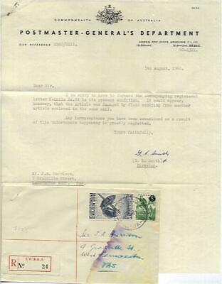 Papua New Guinea - Tasmania registered letter damaged in post + apology letter