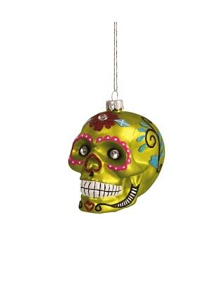 GALLERIE II BRIGHT SUGAR SKULL DAY OF THE DEAD HALLOWEEN XMAS ORNAMENT STYLE C