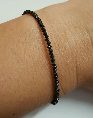 Genuine faceted 7ctw Black Diamond bracelet stamped solid 14k gold