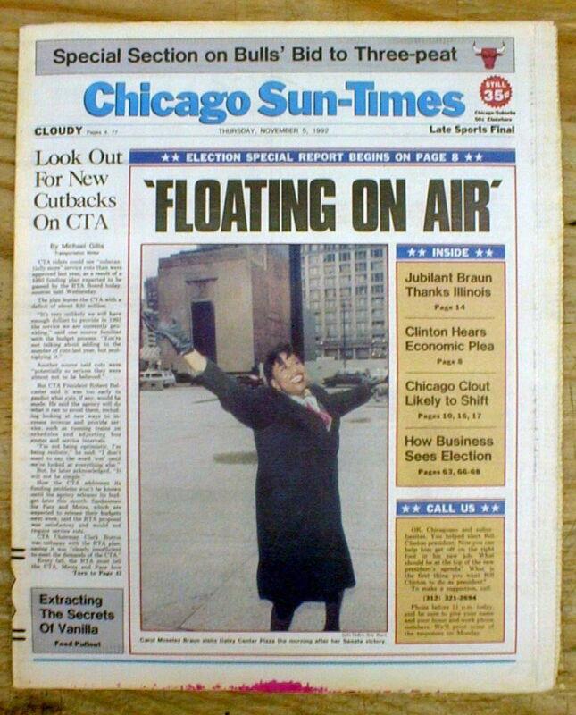 1992 Chicago newspaper CAROL MOSELEY BRAUN ELECTED 1st Black Woman US SENATOR