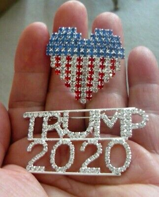 2 Great Pins - Large Trump 2020 Pin & USA Heart Flag Pin, Covered In Rhinestones