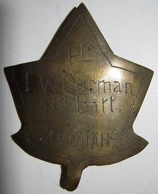 "WW1 CEF Hat Badge - Theater Made - 58th Battalion ""Pte. F.W. GURMAN"""