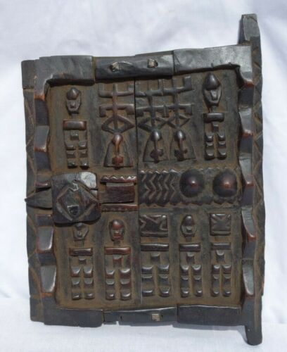 AFRICAN DOOR CARVED WOOD DOGON MALI GRANARY DOOR STORAGE