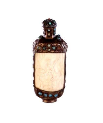Mongolian Silver and Bone Snuff Bottle