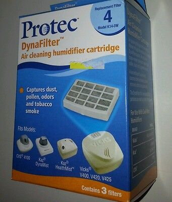 Protec Brand Air Cleaning Humidifier Cartridge Filters Model K14-3W 3 per box