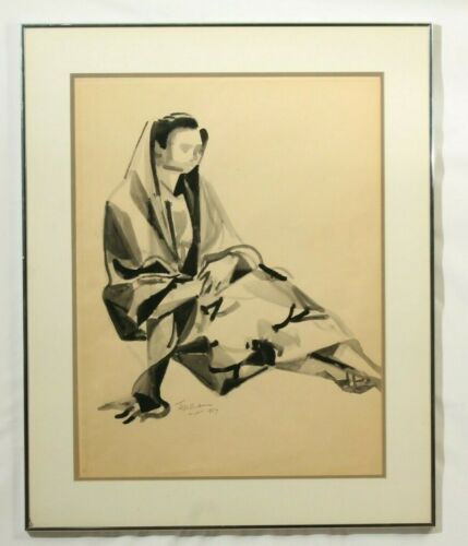 """""""Woman Seated"""" Romeo Tabuena Original Ink on Paper, Modern Art, Mexico"""