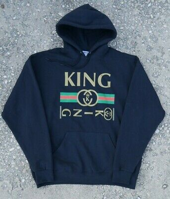 KING Hoodie Gucci Bootleg Jerseys Size XL Black vtg. His Hers Sweatshirt Hooded