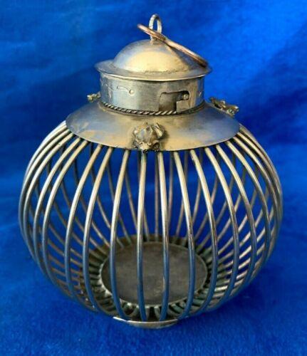 Antique Oriental Silver Cage or Incense Burner w/ Frog figure on top