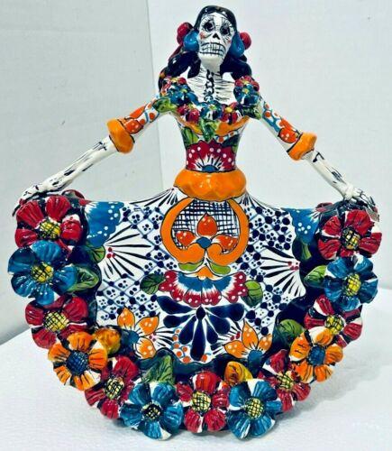 "Mexican Day Of The Dead Figure Talavera Catrina Dancer Folk Art Pottery 11"""