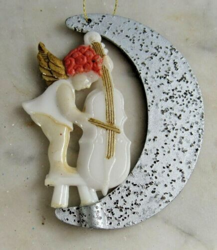 Vintage Christmas Ornament Plastic Angel w/ Cello on Crescent Moons w/ Glitter