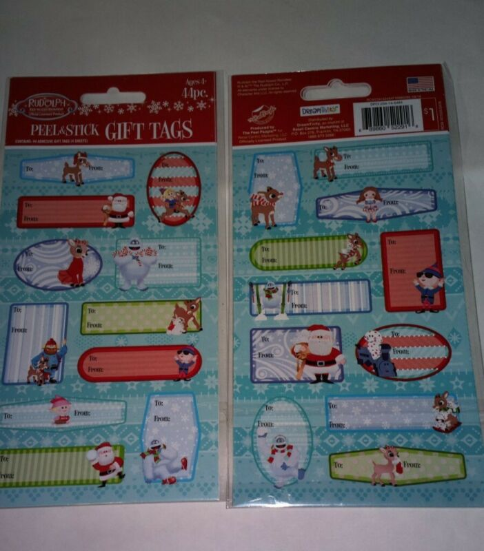 Gift Tags LOT OF 2 Rudolph the Reindeer 44 EACH Peel & Stick (88 IN ALL)