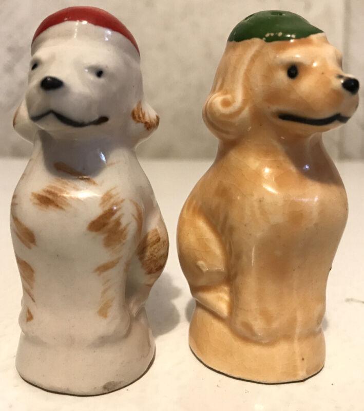 Vintage Ceramic Dog Puppy Salt & Pepper Shakers Japan