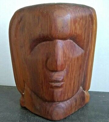 Beautiful original  Carved Wooden Male Head Sculpture 13cm deep x 19 x23cm high