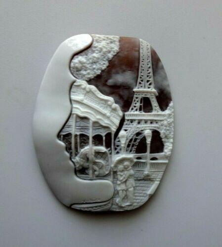 CLASSIC HANDMADE SHELL CAMEO  MUSEUM QUALITY ROMANTIC PARIS
