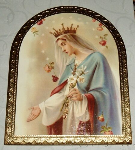 QUEEN VIRGIN MARY w/ ROSES  Mother Arched Wood Wall Plaque JESUS  Catholic NEW