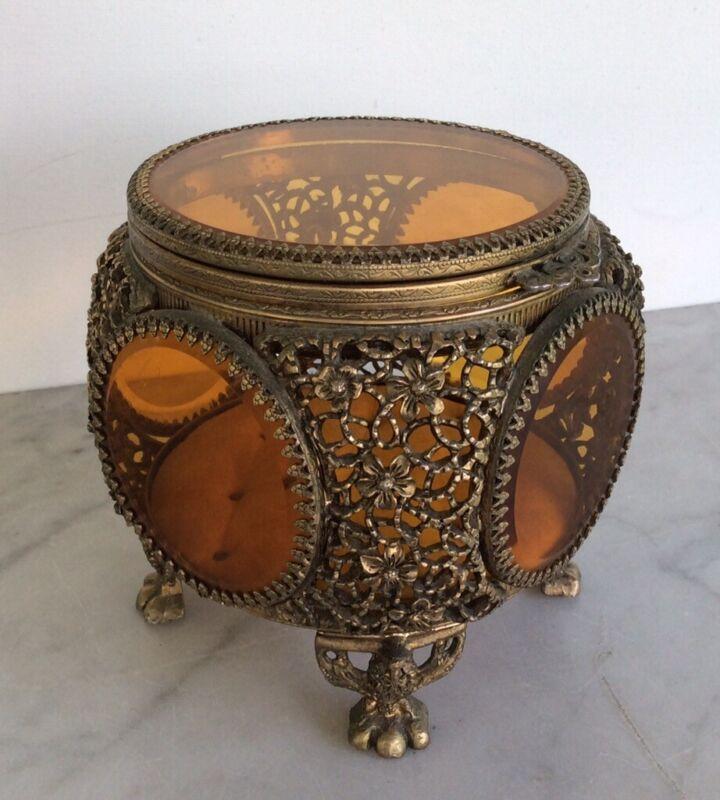 Vintage Stylebuilt Amber Glass Beveled Gold Filigree Ormolu Jewelry Trinket Box