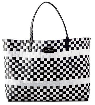 Kate Spade New York Black White Tote Multi Color Weekender Beach Shopper Bag New