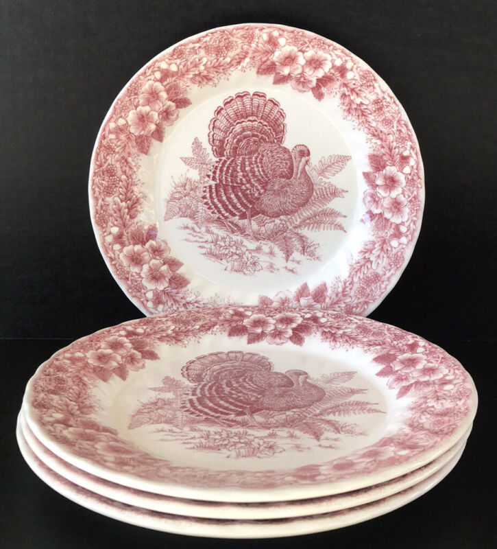 """Queens Thanksgiving Dinner Plates 10"""" Red Pink Set Of 4"""