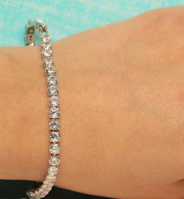 "4 Carat Round Cut Diamond Tennis Bracelet In 14k White Gold Finish 7"""