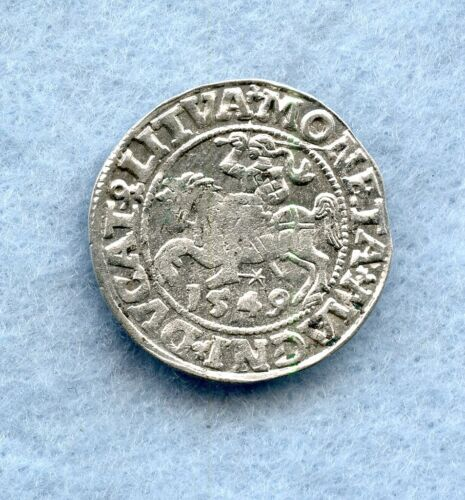 LITHUANIA ~ 1549 ~ 1/2 GROSCHEN ~ SILVER ~ XF