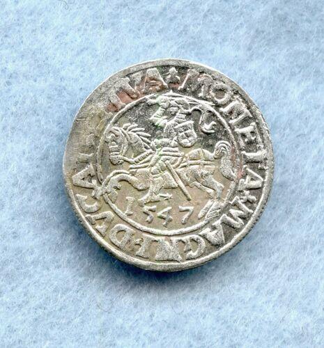 LITHUANIA ~ 1547 ~ 1/2 GROSCHEN ~ SILVER ~ BU