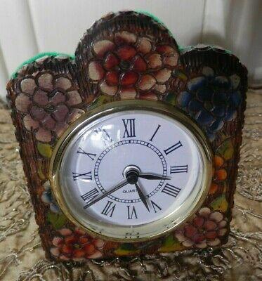Antique Coloured Pyrography Poker Work Wooden case and Modern Quartz Alarm Clock