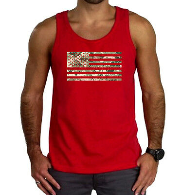 Men's Digital Camo US Flag Red Tank Top American Military Army Marine Muscle Tee ()