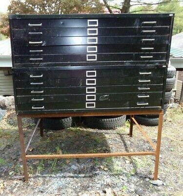 2 Vintage Safco 5-drawer Metal Flat File Cabinets Art Plans Maps Blueprint