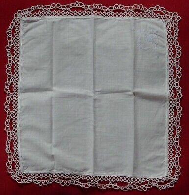 Da Taschentuch Handarbeit Spitze Museum 60er weiß Occhi Schiffchenarbeit Frivoli