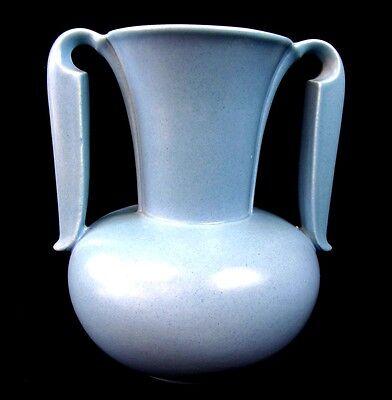 Stangl Pottery Vase Satin Powder Blue 2 Handled Art Deco Vintage 7 inch
