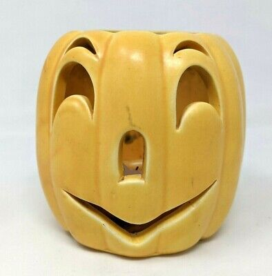 VTG Haeger Pottery Ceramic Halloween Jack O Lantern Pumpkin #400 Tea Candle GZ20