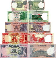 India - Lotto 5 Banconote 1/5/10/20/50 Rupees Fds - Unc -  - ebay.it