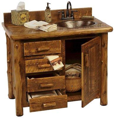 Custom Rustic Sawmill Camp Wood Log Cabin Lodge Pine Bathroom Vanity 30-72 INCH